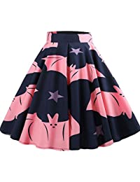 a23faae1877 Yogogo Femmes Sexy Halloween Jupe Imprimé Chic Mode Jupe Swing A-Line Jupe  Femmes Jupe Taille Haute Jupes PlisséE Parapluie…