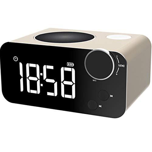 ERKEJI Bluetooth Altavoz Tarjeta inalámbrica Despertador Audio pequeño Espejo lámpara bajo 2000mAh...