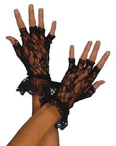 Smiffy's Fingerless Lace Gloves - Black
