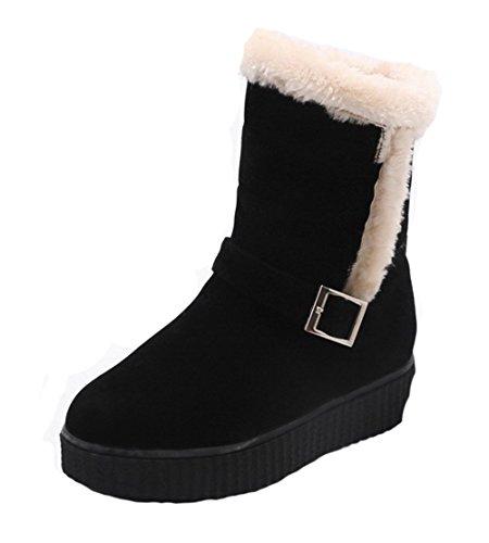 AgeeMi Shoes Damen Faux Wildleder Rund Zehe Schnalle Bequem Schneestiefel,EuX94 Schwarz 36 (Wildleder Faux Schnalle)