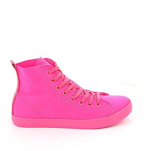 Ideal Shoes-Scarpe da ginnastica e scarpe alte Evelyna in tela Rosa (Fucsia)