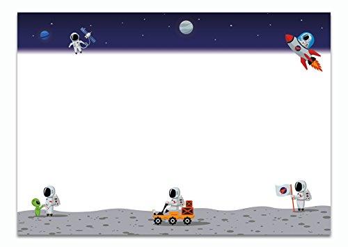 Schreibtischunterlage Astronaut aus Papier zum Abreißen, DIN A2 mit Weltraum-Motiv | 25 Blatt Schreibunterlage (60 x 42 cm) für Kinder, Jungen & Erwachsene