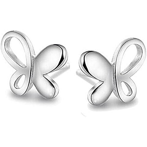 CAIerd gioielleria in argento sterling 925 farfalla orecchino della vite prigioniera 1 paio