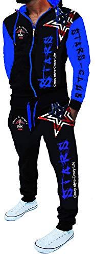 RMK Herren Trainingsanzug Jogginganzug Sportanzug Streetwear Jogger Hausanzug Stars A.2256 (Schwarz-Blau 4XL)
