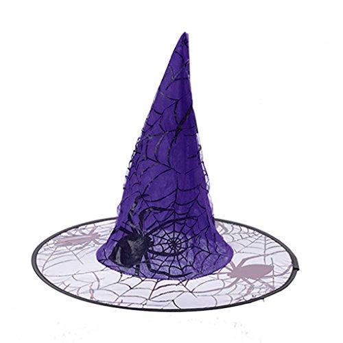 Topker Spinne Hexenhut für Halloween-Dekor-Abendkleid-Partei-Kostüm-Cap für Kinder Caps Erwachsene