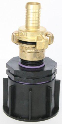 'ame80 _ 100 + 101 Adaptateur Bec S60 x 6 filetage épais avec raccord de réduction AG 1 + Geka - Lave-vaisselle Embrayage et laiton - Fiche femelle avec douille de tuyau adaptateur, IBC Réservoir Eau de Pluie de Accessoires de conteneurs Mamelon de Bidon, tonne, zysterne