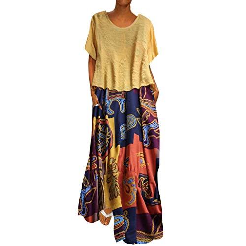 SANNYSIS Maxi Kleid Damen Großen Größen Sommerkleider Elegant Retro Vintage Strandkleider Kaftan Maxikleid Kurzarm V-Ausschnitt Split Lang Kleider (4XL, Gelb) (4xl Umstandsmode)