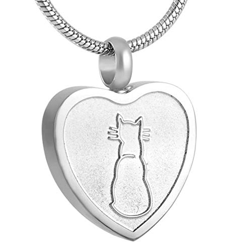 FZUNDX Urnas De Cremación para Mascotas Recuerdo Pequeño Gato Urna Conmemorativa Cenizas Collar De Titular Corazón De Acero Inoxidable Funeral Colgante Ataúd