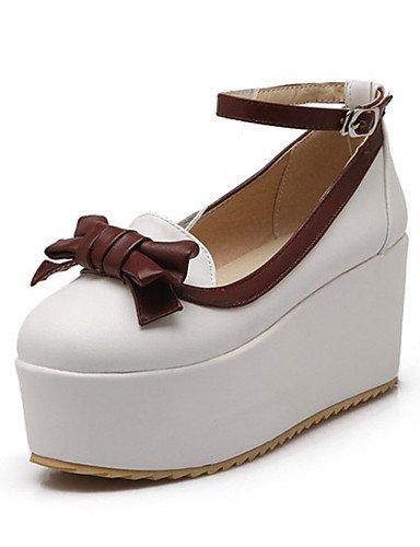 WSS 2016 Chaussures Femme-Mariage / Habillé / Décontracté / Soirée & Evénement-Bleu / Rose / Blanc-Talon Compensé-Compensées-Talons-Similicuir pink-us5.5 / eu36 / uk3.5 / cn35