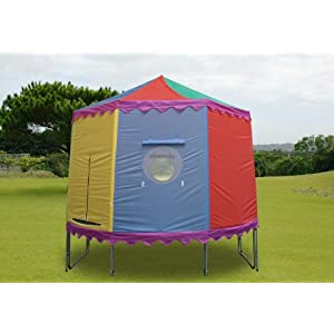 10 ft trampoline tent with 6 poles - circular circus style & fits over existing trampoline enclosure