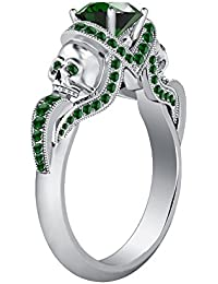 Silvernshine 1.52Ct Green Garnet CZ Diamond Weddding & Engagement Two Skull Ring 14K White Gold PL