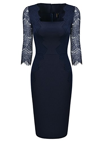 MIUSOL Damen 1/2 Arm Knielang Kleid Spitzen Cocktail Etuikleid Abendkleid Navy Blau Gr.XL - 3