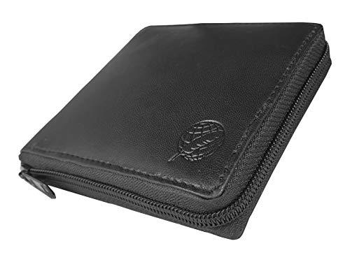 Roamlite, portafoglio nero da uomo in pelle con cerniera, 9 scomparti estraibili per carte di credito e 2 scomparti per banconote, in confezione regalo, Black No Gift Box (Nero) - RL184WK