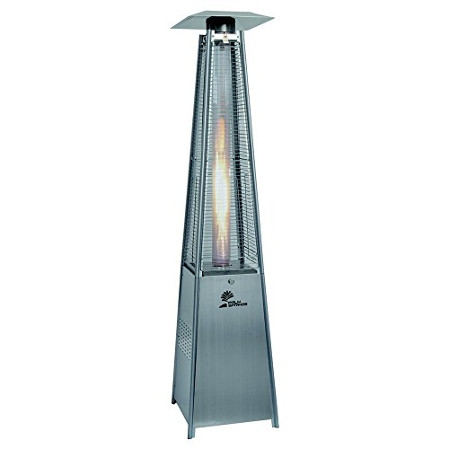 Palm Springs Pyramid Quartz Glass Tube Dancing Flame Patio Heater - Stainless Steel