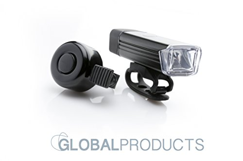 Fahrradlicht mit Fahrrad Klingel , LED Fahrradlicht, Fahrradbeleuchtung-Set, einfache Aufladung, USB Anschluss, wasserdichtes Frontlicht, schwarz, LED Strahler, Lampe LED, Fahrrad Zubehoer, e-bike (Extreme Mountain Bike)