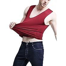 Camiseta Interior Sin Mangas para Hombre Básico Fresco Hielo Seda V Cuello Slim Fit para Casual Sports Fitness - Negro Talla L XeAnYtemL