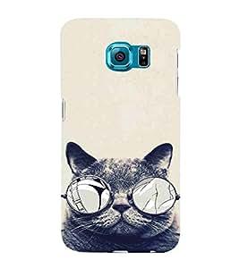 Cat, Black, Cat With Specs, Smart Cat , Sweet Cat, Printed Designer Back Case Cover for Samsung Galaxy S6 Edge :: Samsung Galaxy S6 Edge G925 :: Samsung Galaxy S6 Edge G925I G9250 G925A G925F G925Fq G925K G925L G925S G925T