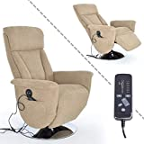MACO Import Fernsehsessel mit Massage, Liege und Heizfunktion Stoffbezug beige - Elektrischer TV Relaxsessel mit Fernbedienung