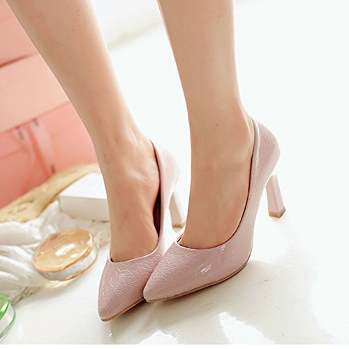 Aisun Damen Sexy Lackleder Pointed Toe Asakuchi Stiletto Pumps Pink