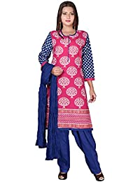 Kartspin Women's Blue Printed Cotton Patiala Suit (Stitched)