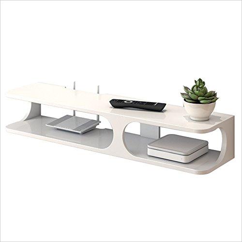 """Nan 2-Tier-Moderne Wandhalterung Floating Regal TV-Konsole 43,3""""x9.4"""" x7""""für DVD-Player/Kabel-Boxen/Router/Remotes/Spielkonsolen (Weiß/Schwarz) Regale (Farbe : Weiß)"""