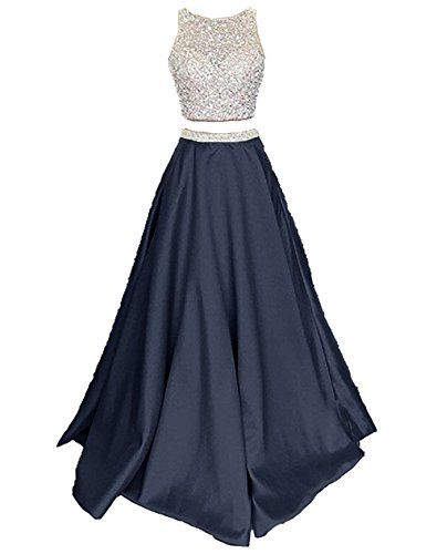 Callmelady Satin Zwei Stück Ballkleider Lang Abendkleider Damen Abiballkleider (Marineblau, EU32)