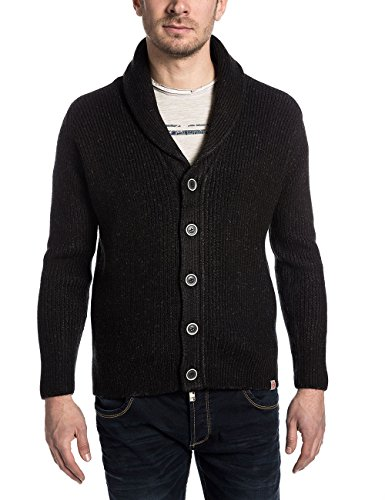 Timezone Herren Strickjacke Carltontz Schwarz (night black melange 9205)