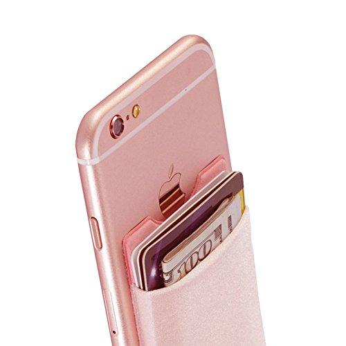 fengruiui Handy Wallet Schutzhülle Kredit ID Card Halter Pocket Stick auf 3m Klebstoff Pink