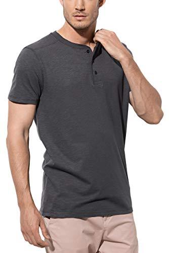 Henley-shirt (Stedman Original Premium Henley-T-Shirt mit Knöpfen für Herren; Aus Weichem Flamm-Garn (Slub-Garn), Slate Grey, L)