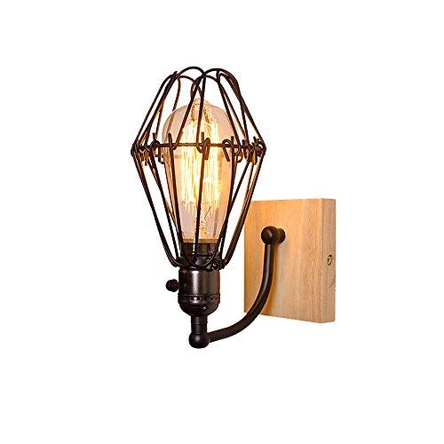 HXGD Industrielle Vintage Vogelkäfig Metall Lampenschirm Wandleuchte Lichter Loft Holz Wandleuchte Leuchte für Bar Küche Wohnzimmer Esszimmer Schlafzimmer (Kerze Wandleuchte Treibholz)
