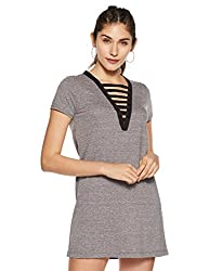 Forever 21 Womens Shirt Knee Length Dress (86069_Heather Grey_XS)