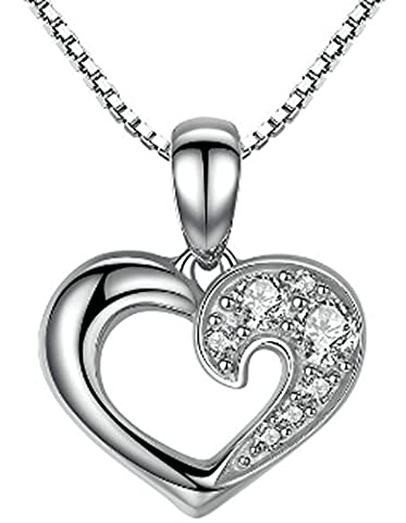 SaySure- 925 Sterling Silver Romantic Silver Heart Pendant Necklace