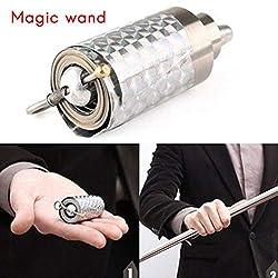 Daxoon Professioneller Magischer Zauberstab, tragbar, magischer Teleskop-Requisiten, lustige Stab für Kampfkunst, Metallmagiker Silber Silber 110cm