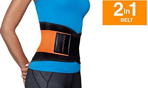 Rückenstützgürtel für Männer und Frauen, 2-in-1, Rückenstütze + beheizter Gürtel bei Bedarf, Kompressionstherapie, 4Größen, orange (Bund Relief)