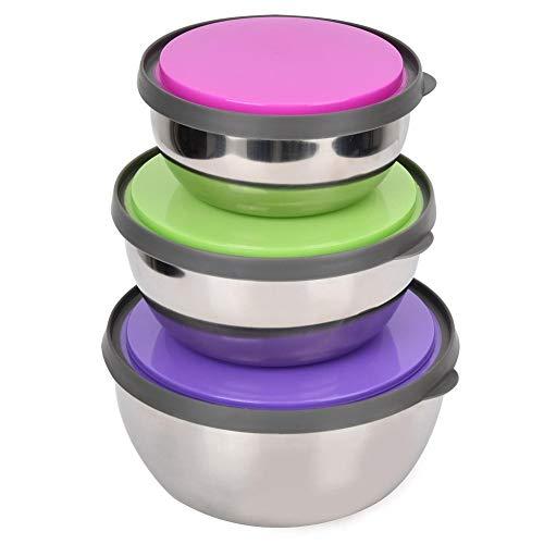 3 Stück Premium Edelstahl Dichtung Rührschüsseln mit Deckel Frischhaltedose Container Küchenwerkzeug - Gefrierschrank Rezepte