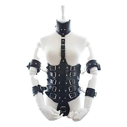 Duuozy Frauen-Ganzkörper-justierbares PU-Leder-Geschirr-Bondage-Teddy-Kostüm-Wäsche-Outfits,Lockdown-Taillen- und Armgürtelmanschetten,Black