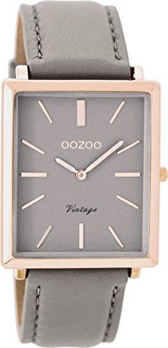 Oozoo Vintage Damenuhr Flach Eckig Lederband 31 MM Rose/Taupe/Taupe C8188