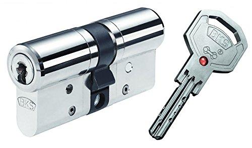 BKS Profilzylinder Janus 46 ink. Sicherungskarte und 5 Schlüssel - 45 / 45 messing vernickelt mit Not und Gefahrenfunktion