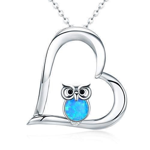 925 Sterling Silber Two Tone Eule Herz Anhänger Halskette Schmuck für Frauen Mädchen(Eule-2)