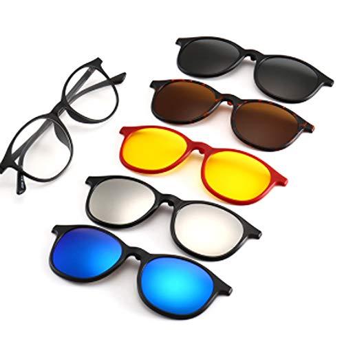 hlq Radladespiegel, PC-Brille Rahmen mit polarisierter Retro-Sonnenbrille, Nachtsichtbrille, Outdoor-Reisen, Brillentasche, 6 CPS,2245