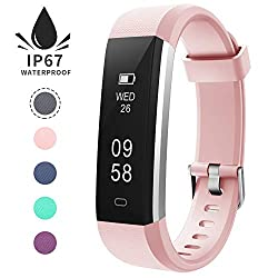 Redgo Slim Fitness Tracker, Waterproof Bluetooth Pedometer Smart Watch Activity Tracker, Calories & Sleep Monitor, Step Counter Wristband Watch For Women Men Kids For Android Or Ios Phone, Pink