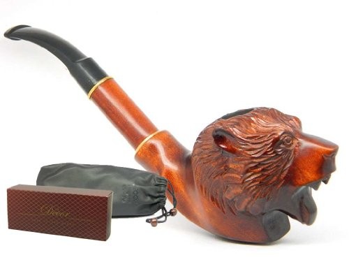 deluxe-tobacco-smoking-pipe-grizzly-bear-carved-of-pear-wood-estate-plus-pouch-by-drwatson