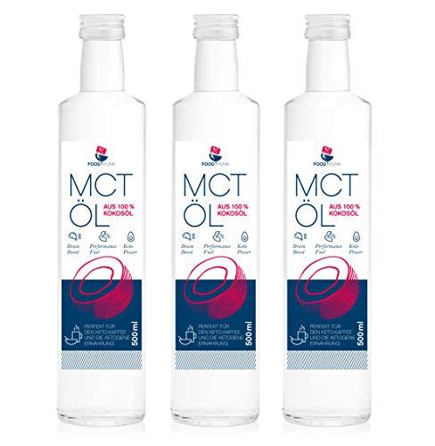 3 X Mct L Von Foodpunk In 3 X 500ml Glasflasche Aus 100 Kokosl 60 Caprylsure Und 40 Caprinsure