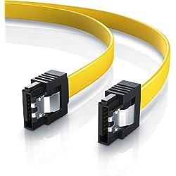 CSL - 0,5m S-ATA III Kabel | Flachkabel Premium HDD / SSD Datenkabel | 1x Stecker gerade zu 1x Stecker gerade | 1,5 GBs / 3GBs / 6GBs | schnelle, sichere und störungsfreie Datenübertragung | Verriegelungssystem für bessere Zugfestigkeit | abwärtskompatibel
