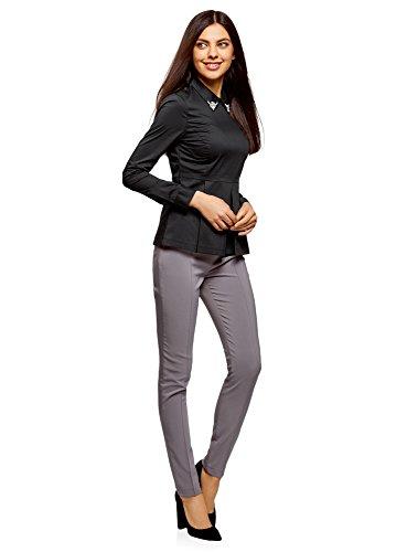 oodji Ultra Damen Bluse mit Schößchen und Verzierung Am Kragen Schwarz (2900N)