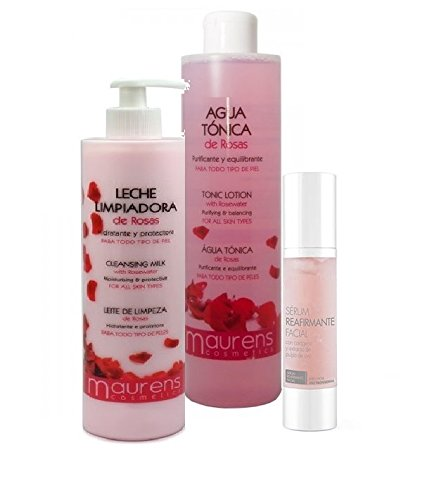 Pack Professionelle Gesichtsreinigung: Stärkungsmittel mit Rosen Wasser + Rosen-Reinigungsmilch