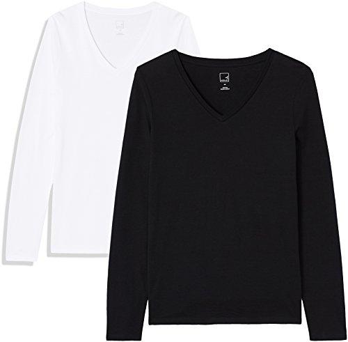 Marchio amazon - meraki ap009 magliette donna, nero (black beauty/white), 50 (taglia produttore: xx-large)