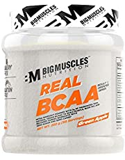 Bigmuscles Nutrition Real BCAA [50 Servings, 250g] -100% Micronized Vegan, Muscle Recovery & Endurance BCAA Powder, 5 Grams of Amino Acids, Keto Friendly, Caffeine Free [Green Apple]