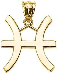 Joyara - Collier Pendentif 14 ct Or Jaune Poissons Mars Zodiaque (Vient Avec une chaine de 45 cm)