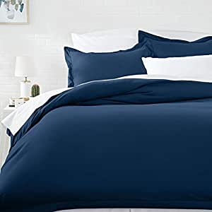 AmazonBasics Microfiber Duvet Cover Set - King, Navy Blue - with 2 pillow covers: Amazon.in ...